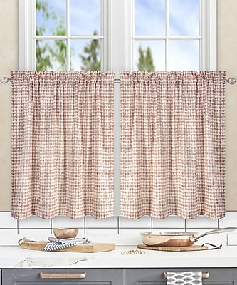 Ellis Curtain Breckan Ikat Check Tailored Tier Curtains (Set of 2); Clay