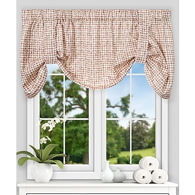 Ellis Curtain Breckan Ikat Check Tie-up 60'' Curtain Valance; Clay