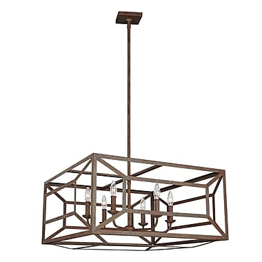 Gracie Oaks Jayanth 6-Light Candle-Style Chandelier; Weathered Iron