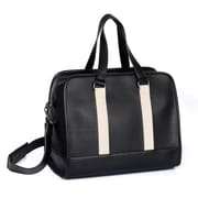 Karla Hanson® 71104 Professional & Travel Men's Duffel with Laptop Insert, Black with Metallic Stripe