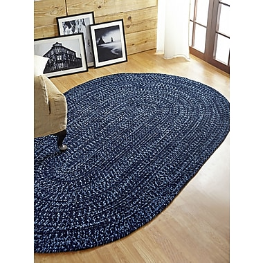 Better Trends Chenille Reverible Tweed Braided Navy/Smoke Blue Area Rug; 5' x 8'