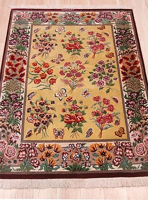 Eastern Rugs Qum Hand-Knotted Gold Area Rug