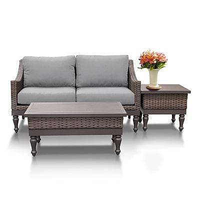 TK Classics Manhattan 3 Piece Sofa Seating Group w/ Cushion; Gray