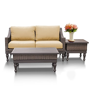 TK Classics Manhattan 3 Piece Sofa Seating Group w/ Cushion; Sesame