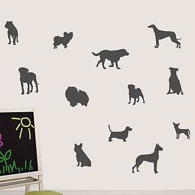 SweetumsWallDecals Dog Wall Decal; Dark Gray
