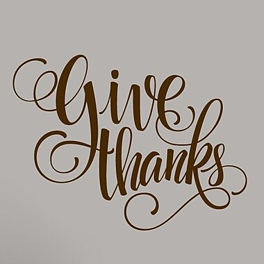SweetumsWallDecals Give Thanks Wall Decal; Brown
