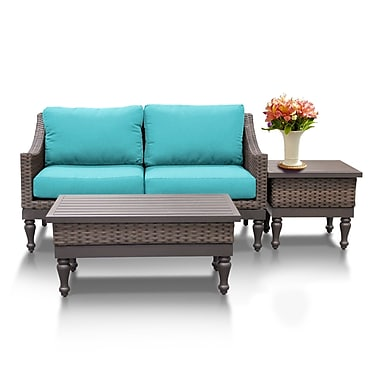 TK Classics Manhattan 3 Piece Sofa Seating Group w/ Cushion; Aruba