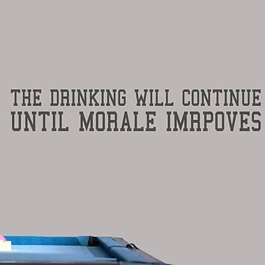 SweetumsWallDecals 'The Drinking Will Continue' Wall Decal; Dark Gray