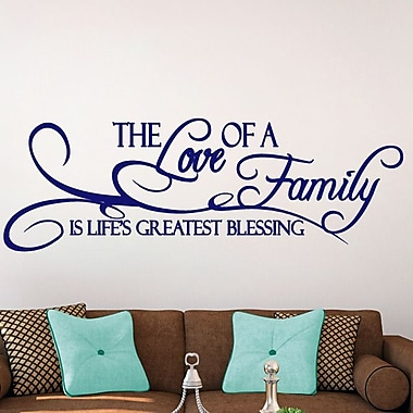 SweetumsWallDecals 'The Love of a Family Is Life's Greatest Blessing' Wall Decal; Navy