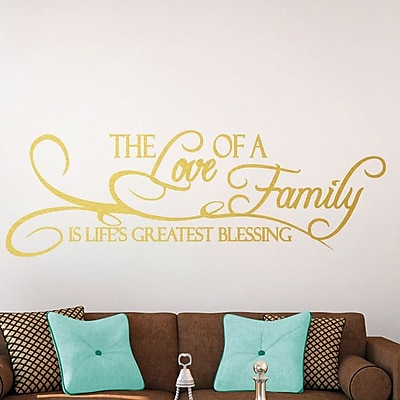 SweetumsWallDecals 'The Love of a Family Is Life's Greatest Blessing' Wall Decal; Gold