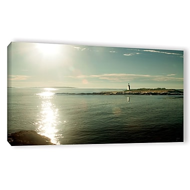 Highland Dunes 'Lighthouse Sound' Photographic Print on Wrapped Canvas in Blue/Beige