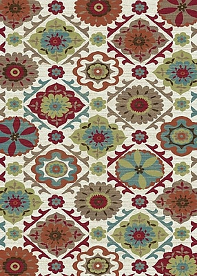 Mayberry Rug Brighton Cream/Red Area Rug; 7'10'' x 9'10''