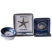 Certified International Calm Seas 12 Piece Heavy Weight Melamine Dinnerware Set