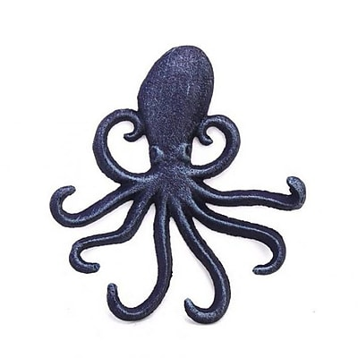 Handcrafted Nautical Decor Rustic Octopus Hook; Dark Blue