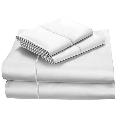 Effortless Bedding 400 Thread Count 100pct Cotton Fitted Top Sheet Set; Twin
