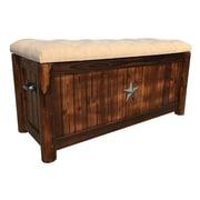 LeighCountry Char-Log Burlap Storage Bench