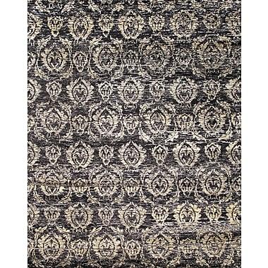 Pasargad Sari Silk Hand-Knotted Black Area Rug