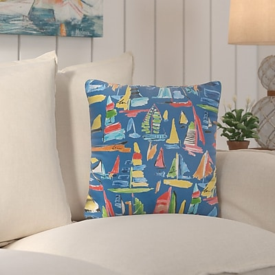 Longshore Tides Wallon Square Indoor/Outdoor Throw Pillow (Set of 2); 18'' H x 18'' W