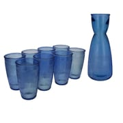 French Home Birch Clear Recycled Glass 9-Piece Carafe Set; Sapphire Blue