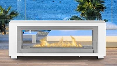 Eco-Feu Santa Cruz 2 Sided Bio-Ethanol Outdoor Fireplace; Gloss White
