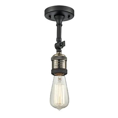Innovations Lighting Bare Bulb 1-Light Semi Flush Mount; Black/Brushed Brass