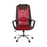 TimeOffice High-Back Mesh Desk Chair; Brown/Red