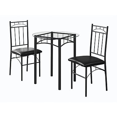 Monarch I 1000 Metal & Tempered Glass Dining Set, Black