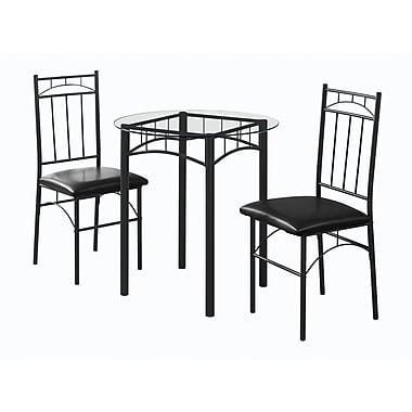 Monarch – Ensemble de salle à manger I 1000 en métal et verre trempé, noir