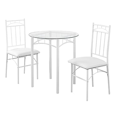Monarch I 1001 Metal & Tempered Glass Dining Set, White