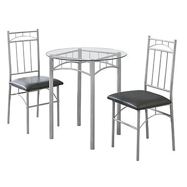 Monarch I 1002 Metal & Tempered Glass Dining Set, Silver