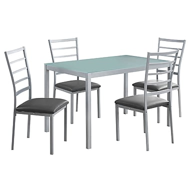 Monarch I 1026 Metal Frosted Glass Dining set, Silver