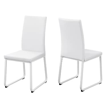 Monarch I 1102 Leather Look Dining Chair, 2/Pack, White