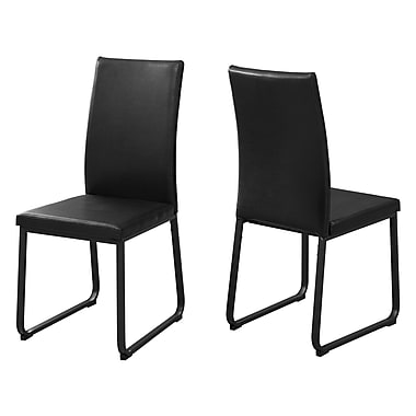 Monarch I 1106 Leather Look Dining Chair, 2/Pack, Black