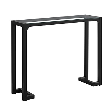 Monarch I 2106 Accent Table with Tempered Glass, Black