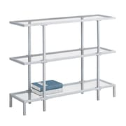 Monarch I 2109 Accent Table with Tempered Glass, Silver