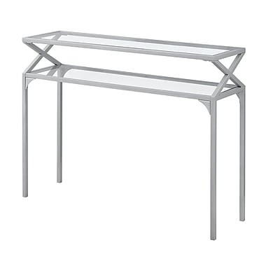 Monarch I 2115 Accent Table with Tempered Glass, Silver