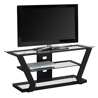 Monarch I 2588 Metal TV Stand with Tempered Glass, Black