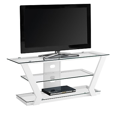 Monarch I 2589 Metal TV Stand with Tempered Glass, White