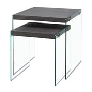 Monarch I 3221 Nesting Tables with Tempered Glass, Grey
