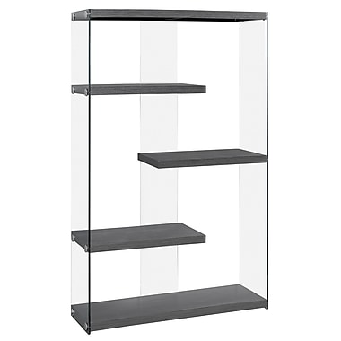 Monarch I 3224 Bookcase with Tempered Glass, Grey