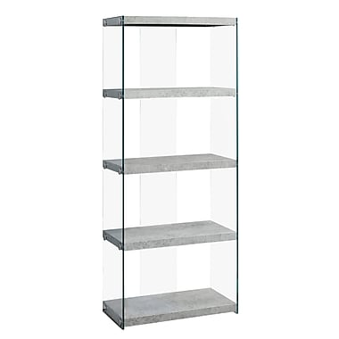 Monarch I 3233 Cement Look Bookcase, Grey