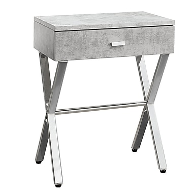 Monarch I 3264 Cement Look Accent Night Stand, Grey