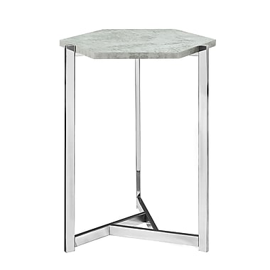 Monarch I 3277 Hexagon Accent Table, Grey Cement Look