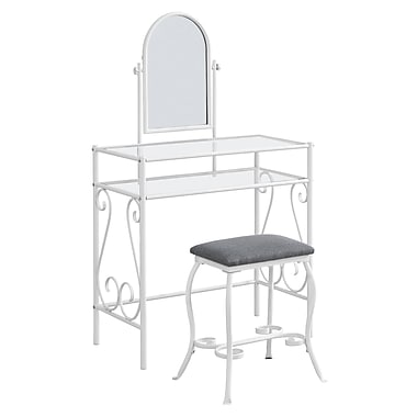 Monarch I 3394 Metal Vanity Set with Tempered Glass, White