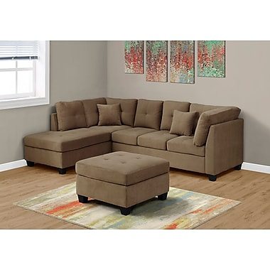 Monarch Specialties Sectional Ultra Soft Velvet Sofa, Brown (I 8375LB)