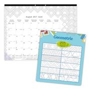 "Blueline® DoodlePlan™ 22"" x 17"" Academic Colouring Monthly Desk Pad Calendar, Geometric Design"
