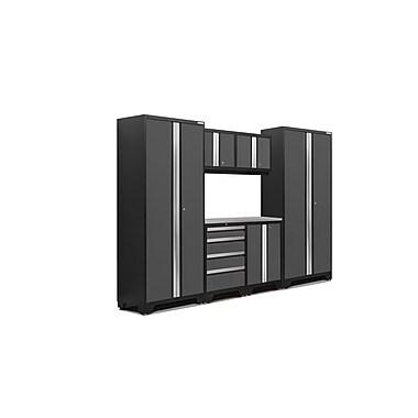 NewAge Products – Ensemble d'armoires pour garage série Bold 3.0 en 7 pièces, surface de travail en acier inox., gris (50051)