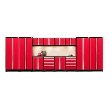 NewAge Products – Ensemble d'armoires pour garage série Bold 3.0 en 14 pièces, surface de travail en acier inox., rouge (50296)