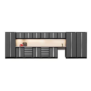 NewAge Products – Ensemble d'armoires pour garage série Bold 3.0 en 16 pièces, surface de travail en acier inox., gris (50110)