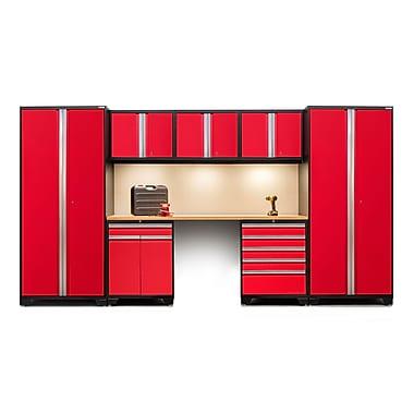 NewAge Products – Ensemble d'armoires pour garage série Pro 3.0 en 8 pièces, surface de travail en bambou, rouge (52292)